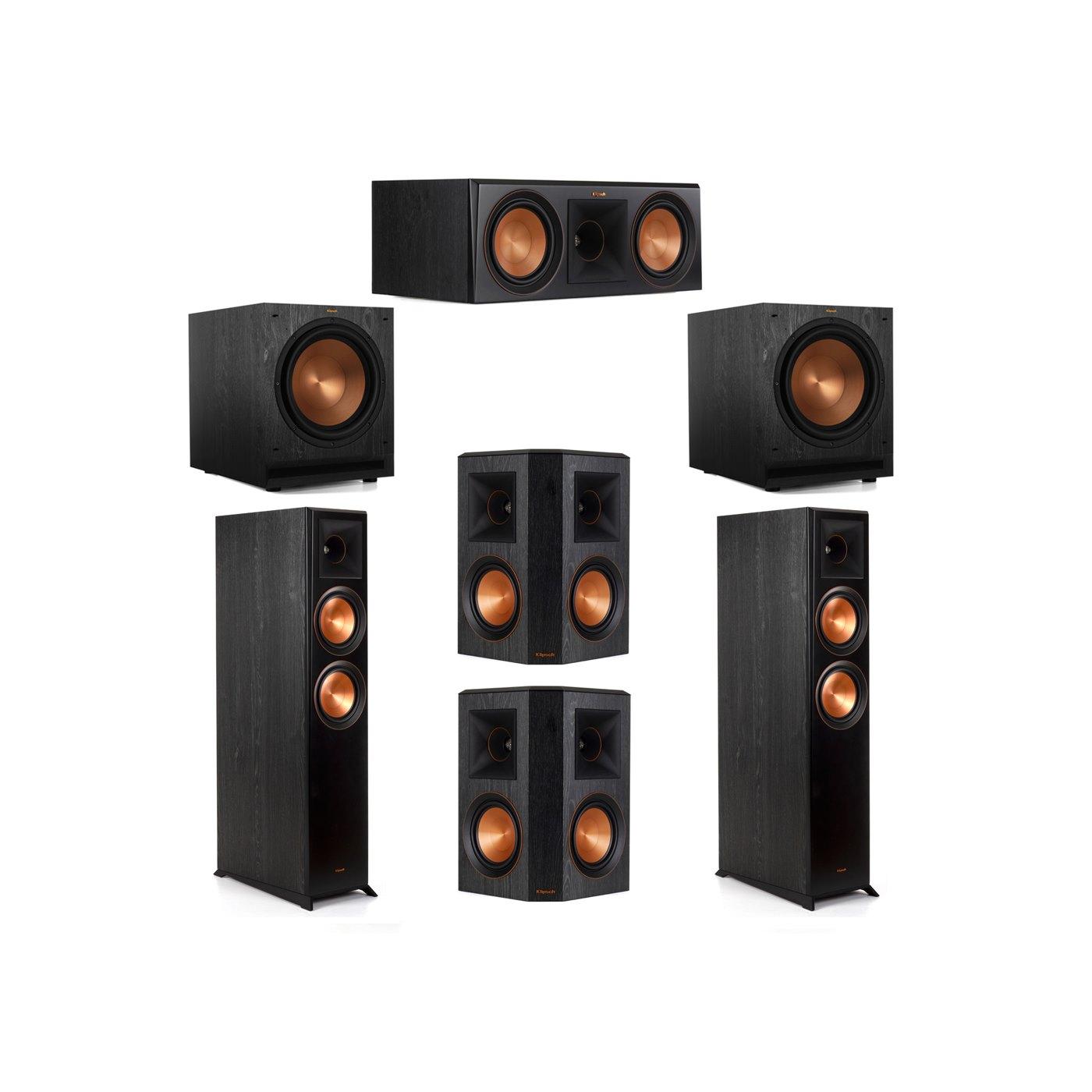 Klipsch 5.2 System with 2 RP-6000F Floorstanding Speakers, 1 Klipsch RP-600C Center Speaker, 2 Klipsch RP-502S Surround Speakers, 2 Klipsch SPL-120 Subwoofers