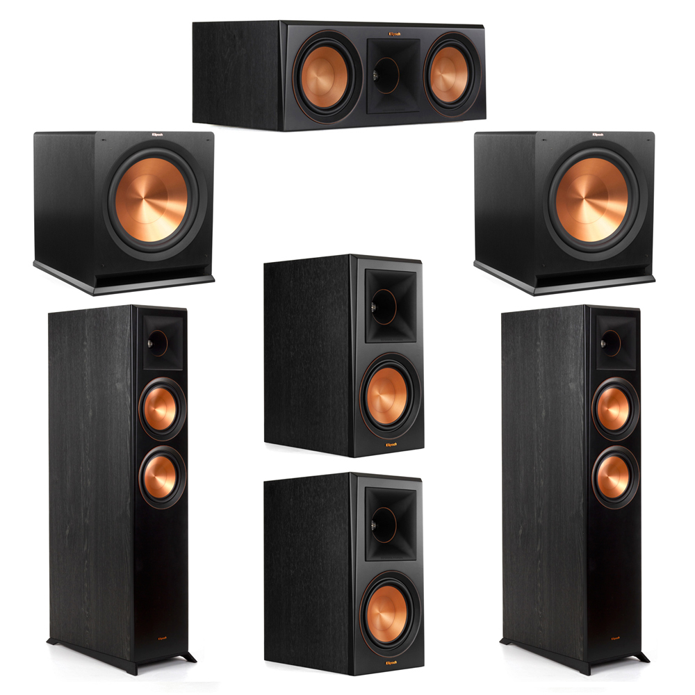 Klipsch 5.2 System with 2 RP-6000F Floorstanding Speakers, 1 Klipsch RP-600C Center Speaker, 2 Klipsch RP-600M Surround Speakers, 2 Klipsch R-115SW Subwoofers