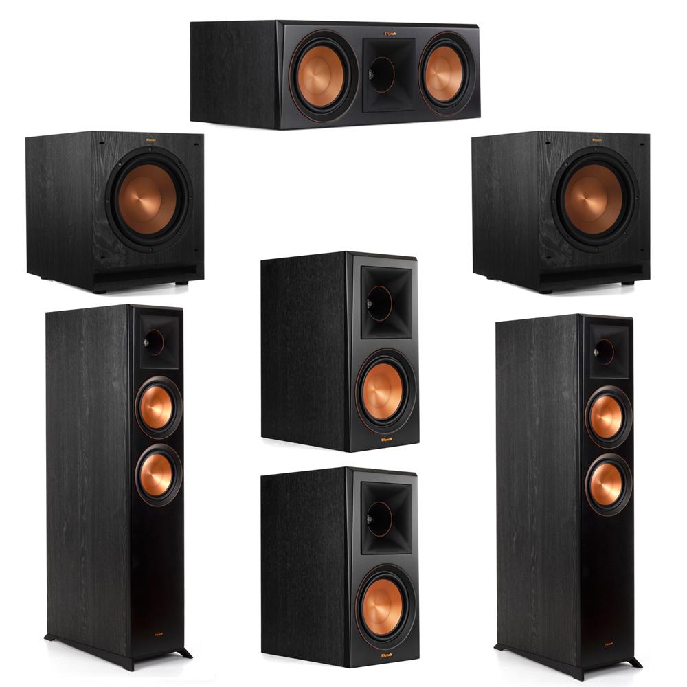 Klipsch 5.2 System with 2 RP-6000F Floorstanding Speakers, 1 Klipsch RP-600C Center Speaker, 2 Klipsch RP-600M Surround Speakers, 2 Klipsch SPL-100 Subwoofers