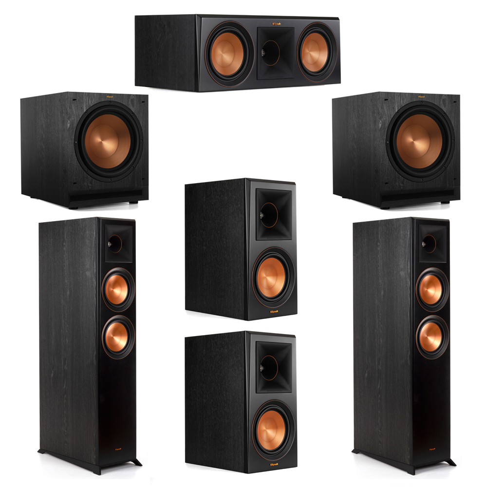 Klipsch 5.2 System with 2 RP-6000F Floorstanding Speakers, 1 Klipsch RP-600C Center Speaker, 2 Klipsch RP-600M Surround Speakers, 2 Klipsch SPL-120 Subwoofers