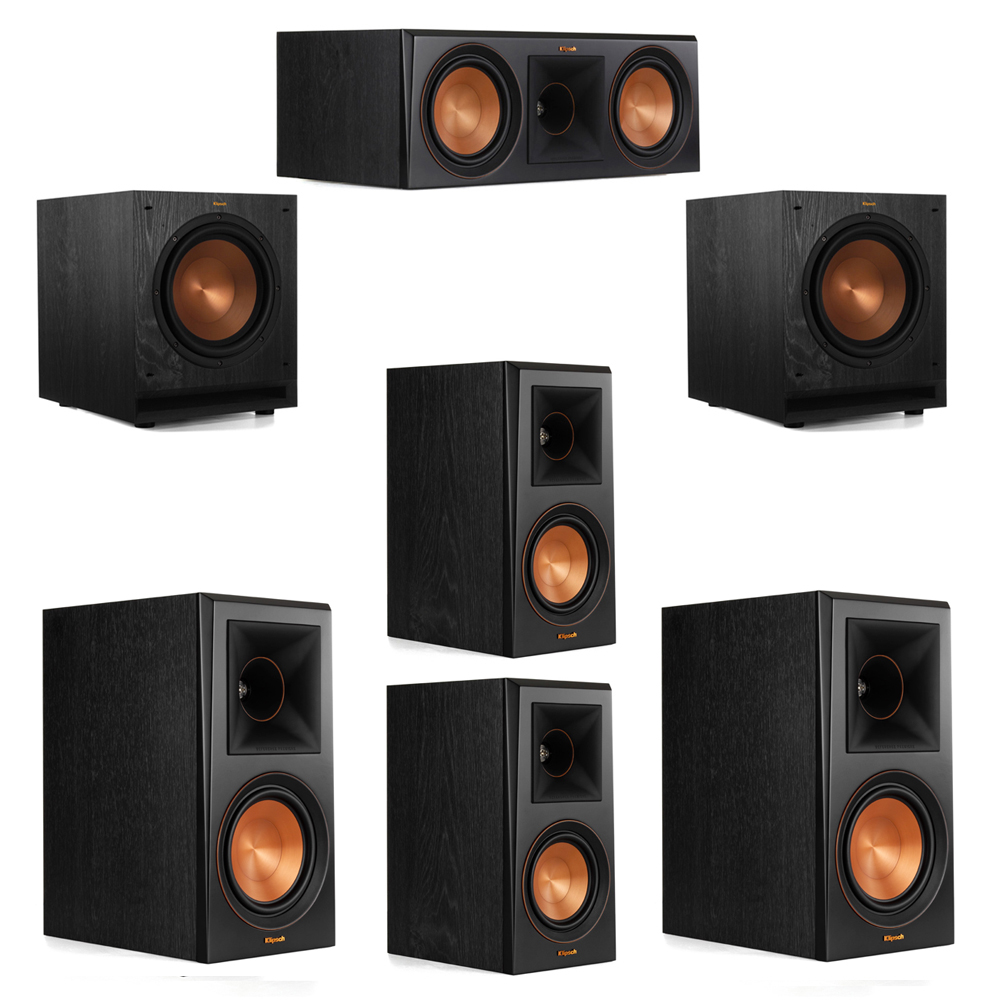 Klipsch 5.2 System with 2 RP-600M Bookshelf Speakers, 1 Klipsch RP-600C Center Speaker, 2 Klipsch RP-500M Surround Speakers, 2 Klipsch SPL-100 Subwoofers
