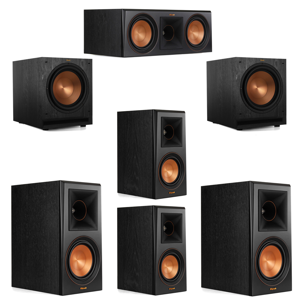 Klipsch 5.2 System with 2 RP-600M Bookshelf Speakers, 1 Klipsch RP-600C Center Speaker, 2 Klipsch RP-500M Surround Speakers, 2 Klipsch SPL-120 Subwoofers