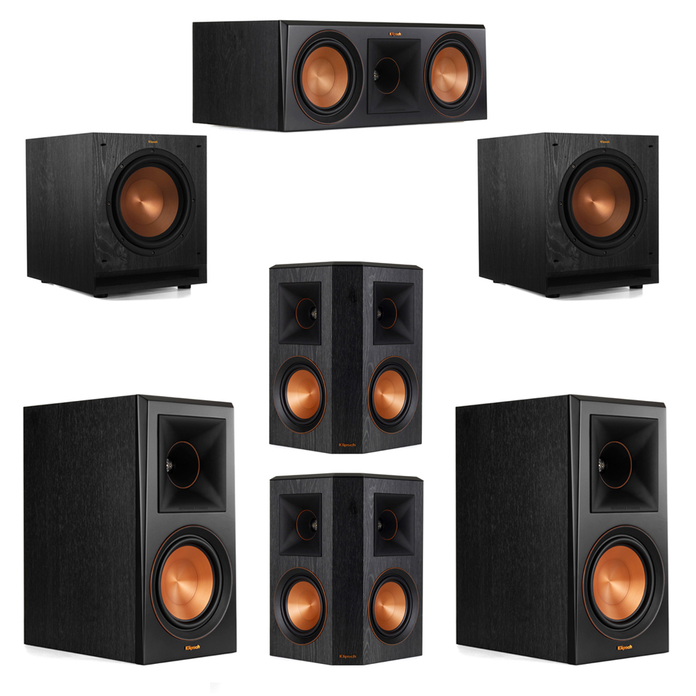 Klipsch 5.2 System with 2 RP-600M Bookshelf Speakers, 1 Klipsch RP-600C Center Speaker, 2 Klipsch RP-502S Surround Speakers, 2 Klipsch SPL-100 Subwoofers