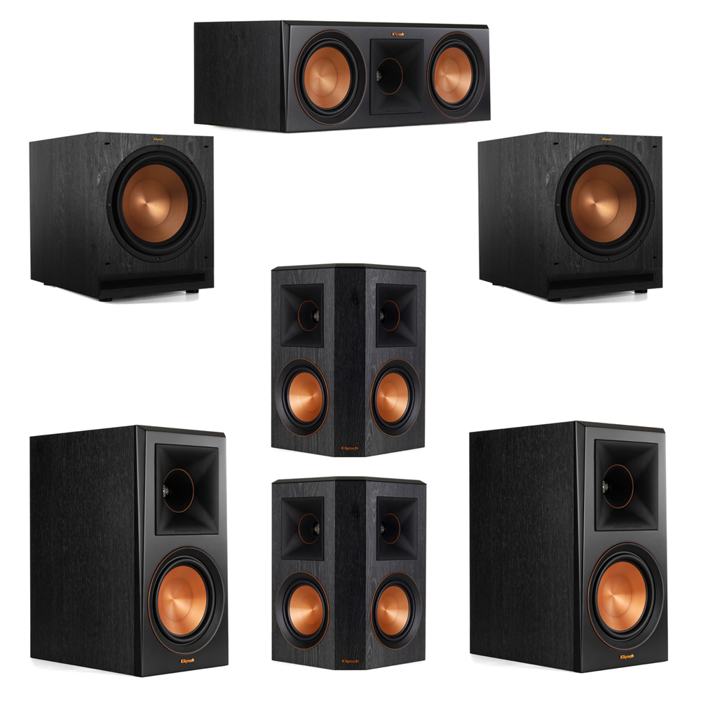 Klipsch 5.2 System with 2 RP-600M Bookshelf Speakers, 1 Klipsch RP-600C Center Speaker, 2 Klipsch RP-502S Surround Speakers, 2 Klipsch SPL-120 Subwoofers