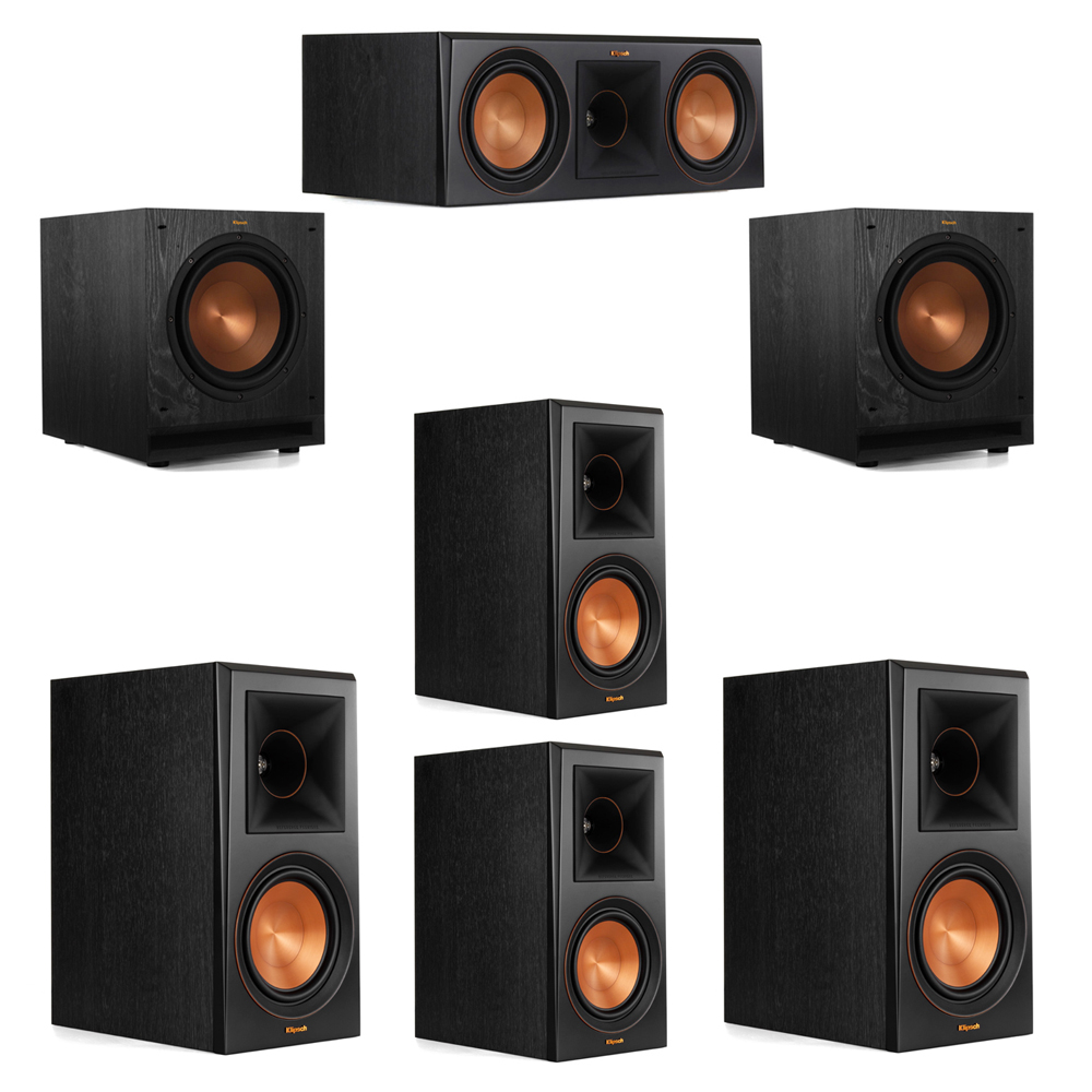 Klipsch 5.2 System with 2 RP-600M Bookshelf Speakers, 1 Klipsch RP-600C Center Speaker, 2 Klipsch RP-600M Surround Speakers, 2 Klipsch SPL-100 Subwoofers