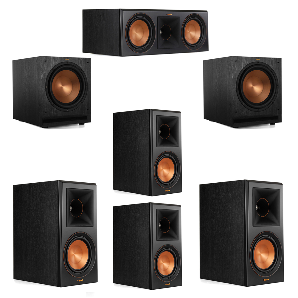Klipsch 5.2 System with 2 RP-600M Bookshelf Speakers, 1 Klipsch RP-600C Center Speaker, 2 Klipsch RP-600M Surround Speakers, 2 Klipsch SPL-120 Subwoofers