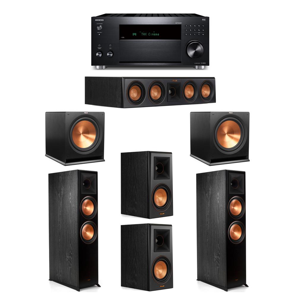 Klipsch 5.2 System with 2 RP-8000F, 1 RP-404C, 2 RP-500M, 2 R-115SW, 1 Onkyo TX-RZ830 Receiver