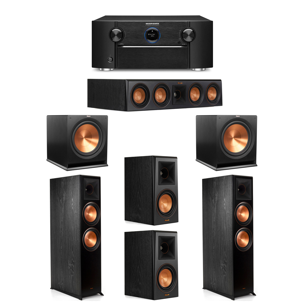 Klipsch 5.2 System with 2 RP-8000F Floorstanding Speakers, 1 Klipsch RP-404C Center Speaker, 2 Klipsch RP-500M Surround Speakers, 2 Klipsch R-115SW Subwoofers, 1 Marantz SR7012 A/V Receiver