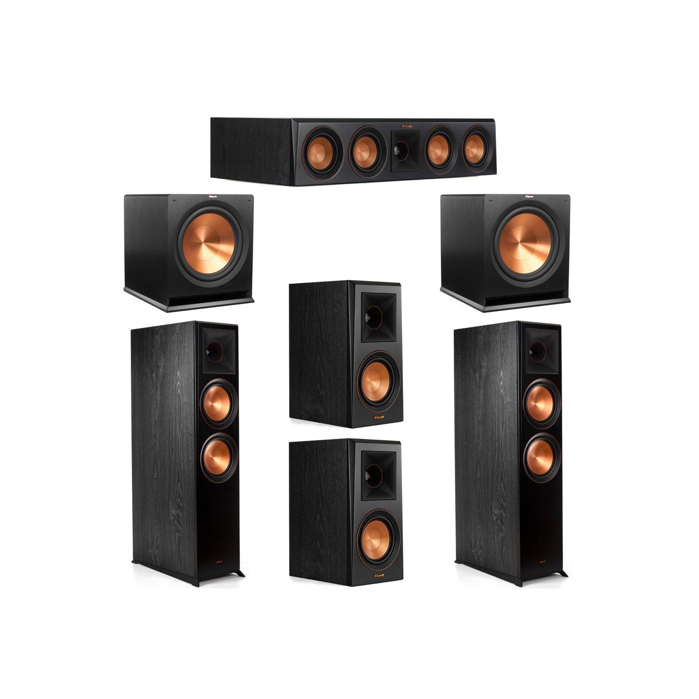 Klipsch 5.2 System with 2 RP-8000F Floorstanding Speakers, 1 Klipsch RP-404C Center Speaker, 2 Klipsch RP-500M Surround Speakers, 2 Klipsch R-115SW Subwoofers