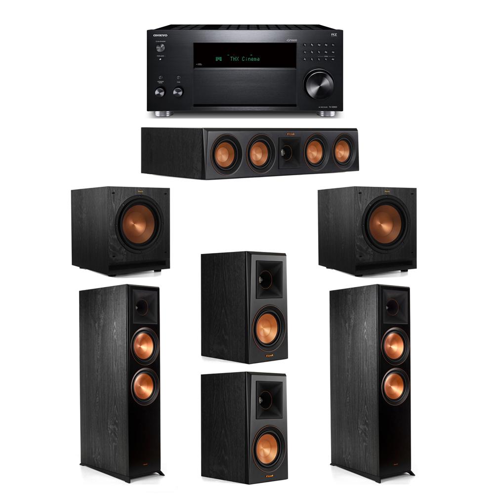 Klipsch 5.2 System with 2 RP-8000F, 1 RP-404C, 2 RP-500M, 2 SPL-100, 1 Onkyo TX-RZ830 Receiver