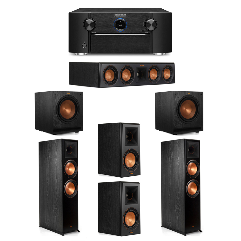 Klipsch 5.2 System with 2 RP-8000F Floorstanding Speakers, 1 Klipsch RP-404C Center Speaker, 2 Klipsch RP-500M Surround Speakers, 2 Klipsch SPL-100 Subwoofers, 1 Marantz SR7012 A/V Receiver