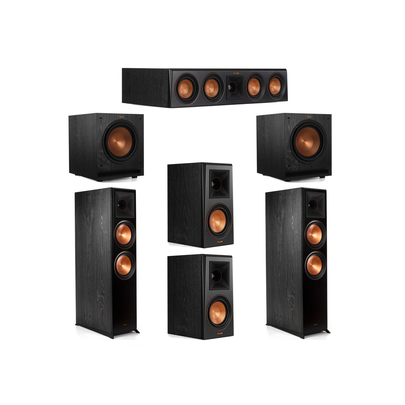 Klipsch 5.2 System with 2 RP-8000F Floorstanding Speakers, 1 Klipsch RP-404C Center Speaker, 2 Klipsch RP-500M Surround Speakers, 2 Klipsch SPL-100 Subwoofers