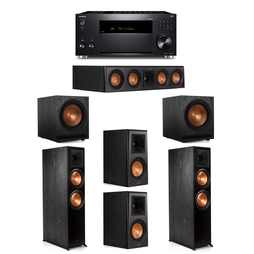 Klipsch 5.2 System with 2 RP-8000F, 1 RP-404C, 2 RP-500M, 2 SPL-120, 1 Onkyo TX-RZ830 Receiver