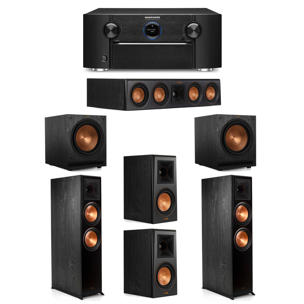 Klipsch 5.2 System with 2 RP-8000F Floorstanding Speakers, 1 Klipsch RP-404C Center Speaker, 2 Klipsch RP-500M Surround Speakers, 2 Klipsch SPL-120 Subwoofers, 1 Marantz SR7012 A/V Receiver