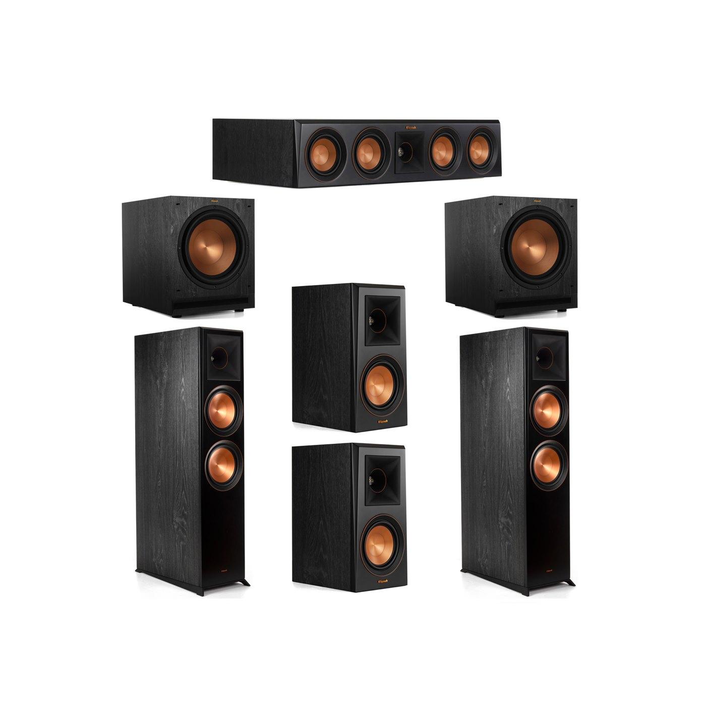 Klipsch 5.2 System with 2 RP-8000F Floorstanding Speakers, 1 Klipsch RP-404C Center Speaker, 2 Klipsch RP-500M Surround Speakers, 2 Klipsch SPL-120 Subwoofers