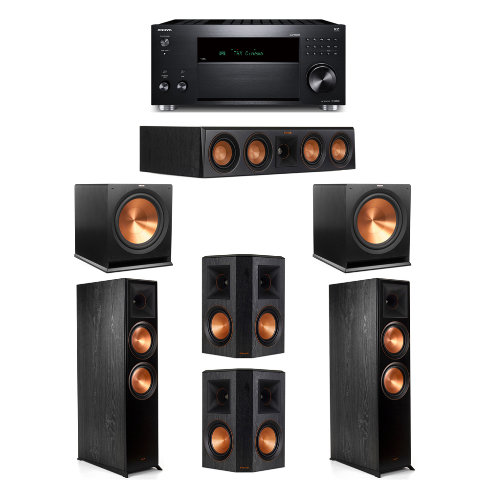 Klipsch 5.2 System with 2 RP-8000F, 1 RP-404C, 2 RP-502S, 2 R-115SW, 1 Onkyo TX-RZ830 Receiver