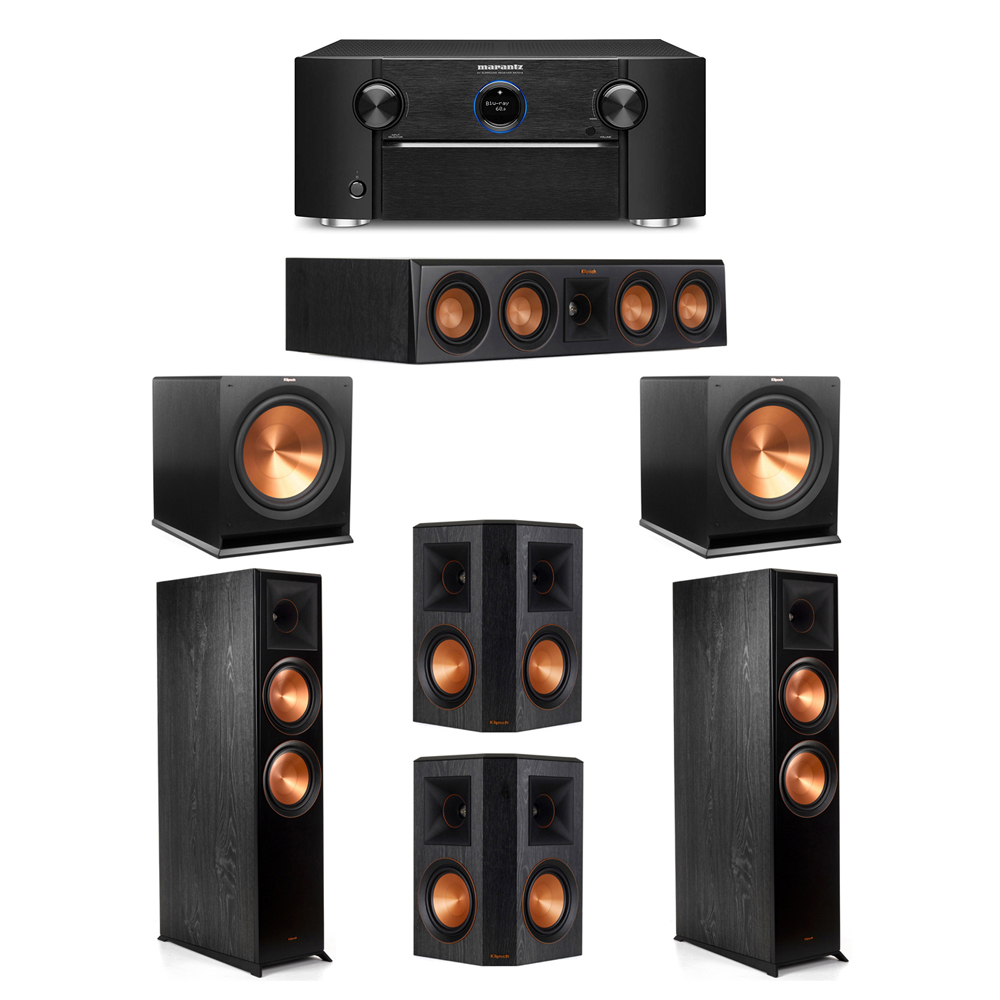 Klipsch 5.2 System with 2 RP-8000F Floorstanding Speakers, 1 Klipsch RP-404C Center Speaker, 2 Klipsch RP-502S Surround Speakers, 2 Klipsch R-115SW Subwoofers, 1 Marantz SR7012 A/V Receiver