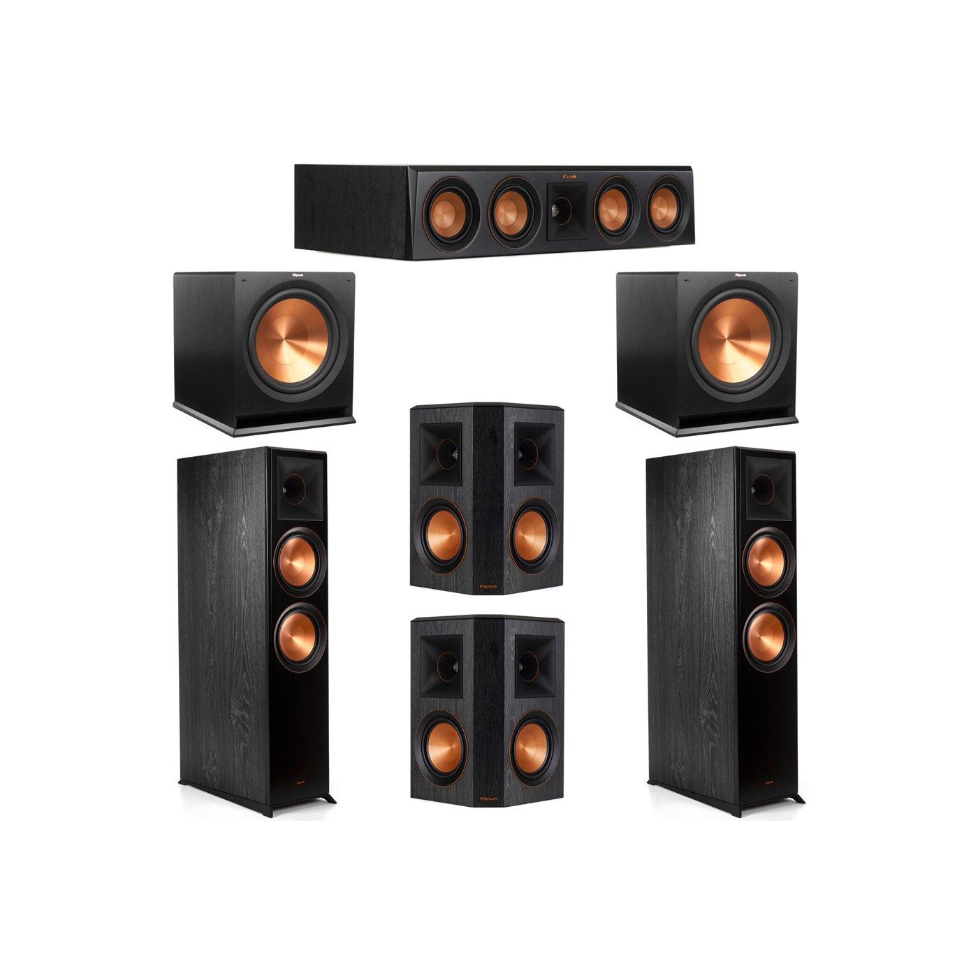 Klipsch 5.2 System with 2 RP-8000F Floorstanding Speakers, 1 Klipsch RP-404C Center Speaker, 2 Klipsch RP-502S Surround Speakers, 2 Klipsch R-115SW Subwoofers