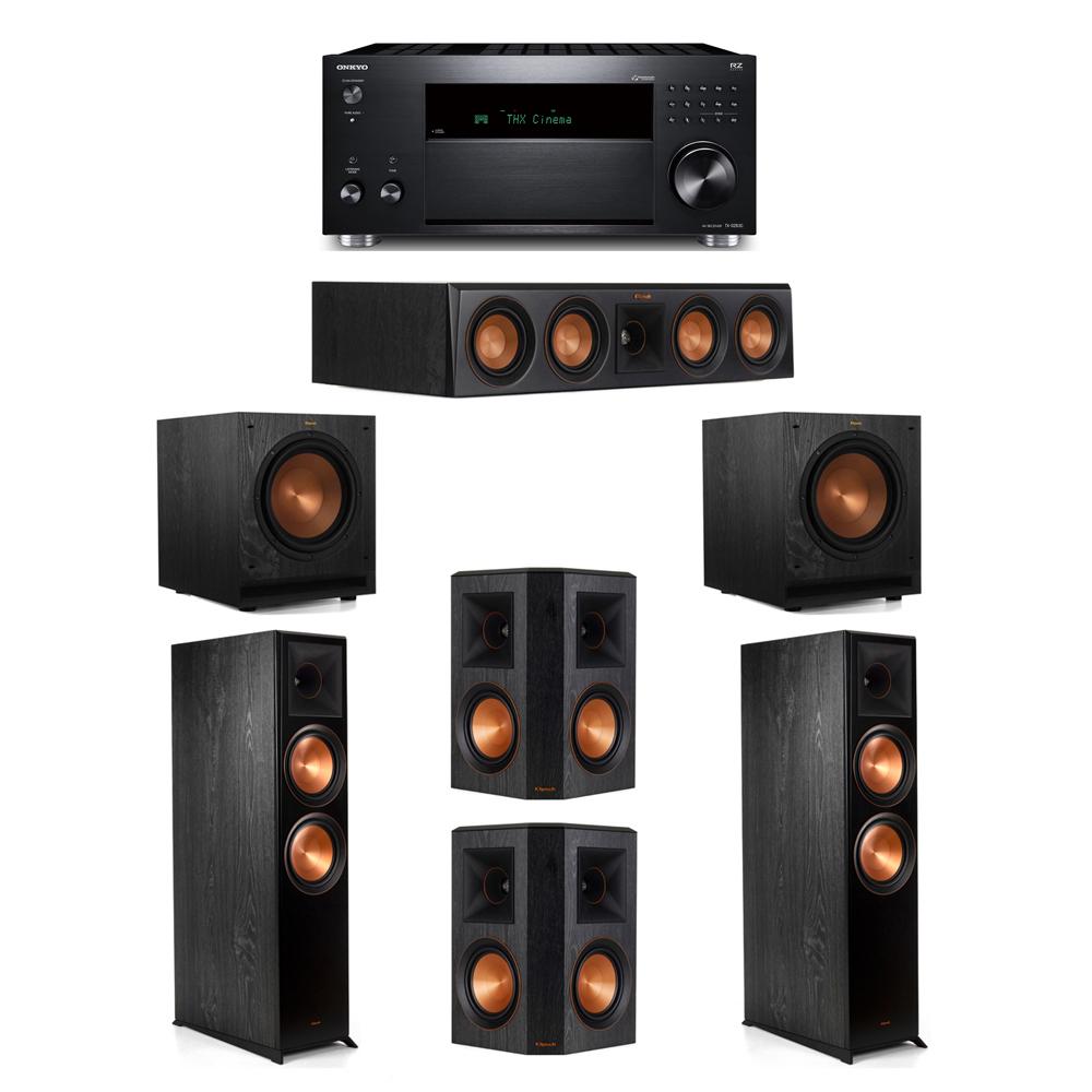 Klipsch 5.2 System with 2 RP-8000F, 1 RP-404C, 2 RP-502S, 2 SPL-100, 1 Onkyo TX-RZ830 Receiver