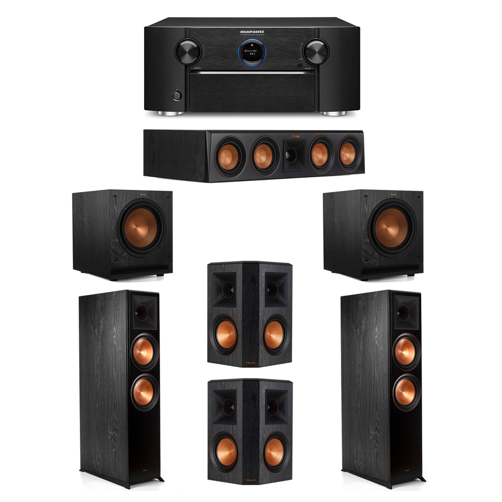 Klipsch 5.2 System with 2 RP-8000F Floorstanding Speakers, 1 Klipsch RP-404C Center Speaker, 2 Klipsch RP-502S Surround Speakers, 2 Klipsch SPL-100 Subwoofers, 1 Marantz SR7012 A/V Receiver