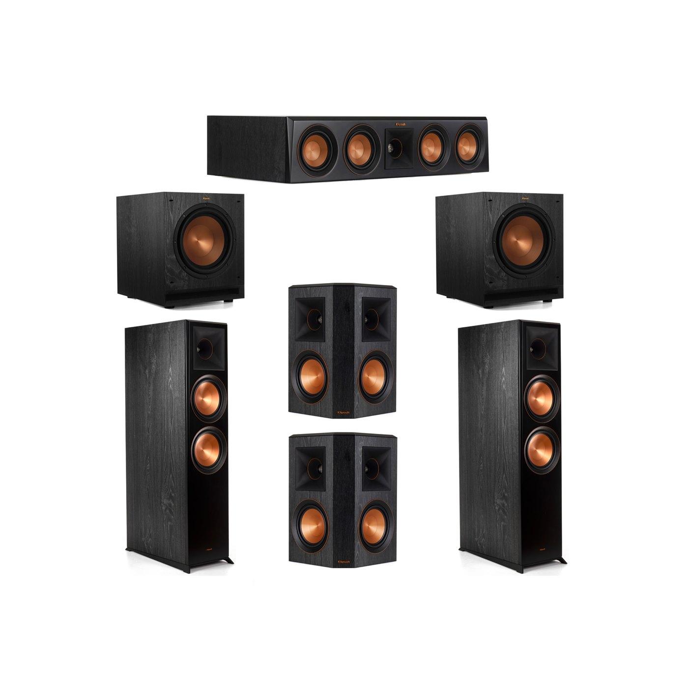 Klipsch 5.2 System with 2 RP-8000F Floorstanding Speakers, 1 Klipsch RP-404C Center Speaker, 2 Klipsch RP-502S Surround Speakers, 2 Klipsch SPL-100 Subwoofers