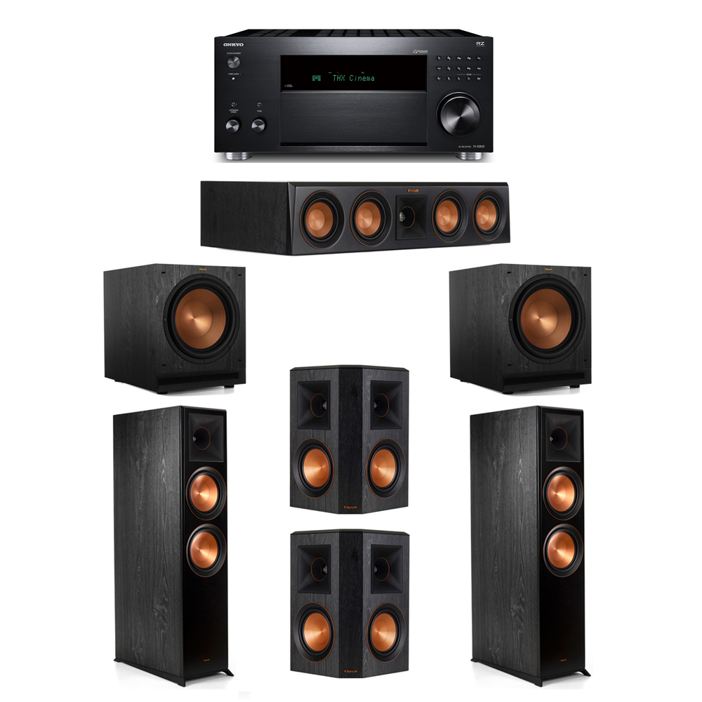 Klipsch 5.2 System with 2 RP-8000F, 1 RP-404C, 2 RP-502S, 2 SPL-120, 1 Onkyo TX-RZ830 Receiver