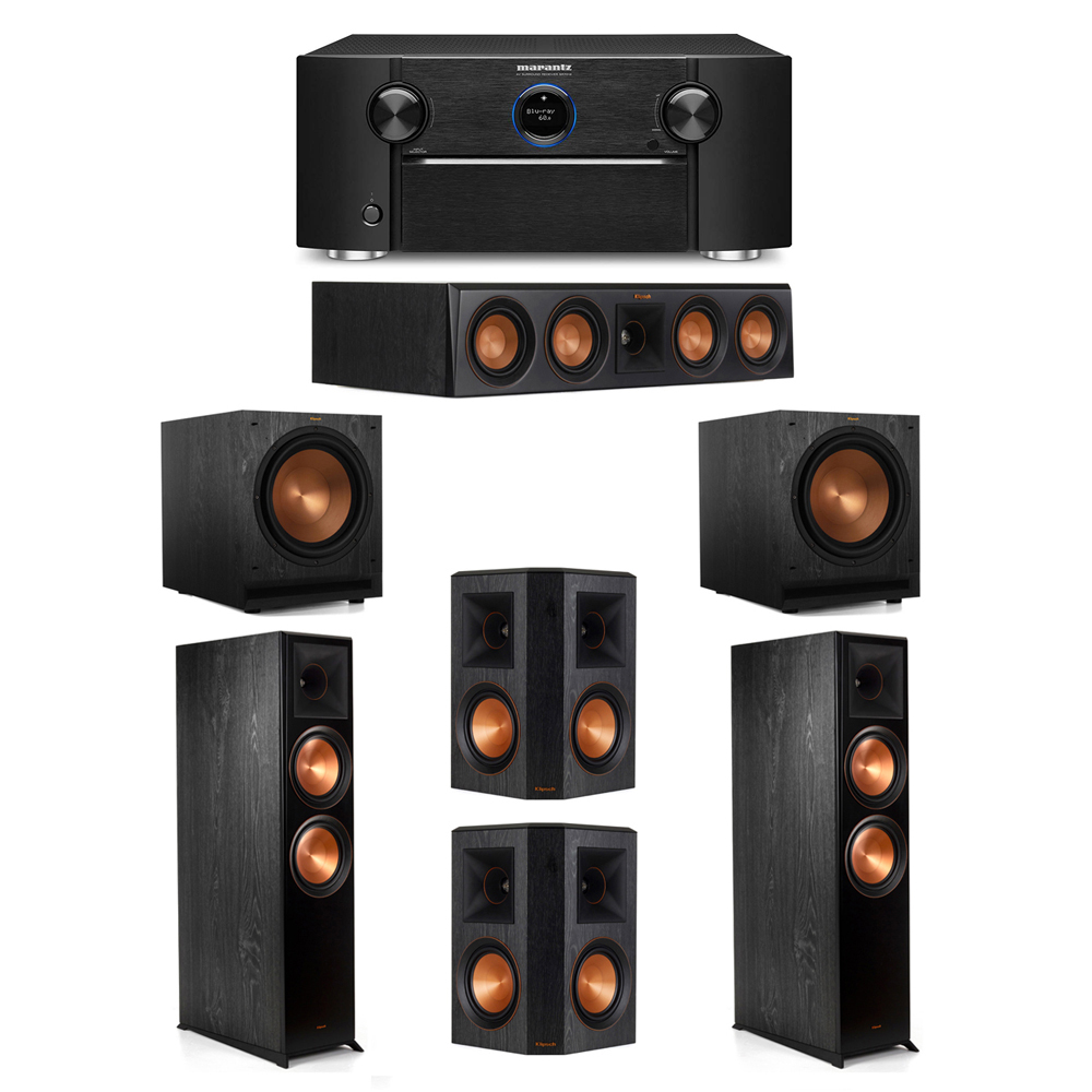 Klipsch 5.2 System with 2 RP-8000F Floorstanding Speakers, 1 Klipsch RP-404C Center Speaker, 2 Klipsch RP-502S Surround Speakers, 2 Klipsch SPL-120 Subwoofers, 1 Marantz SR7012 A/V Receiver
