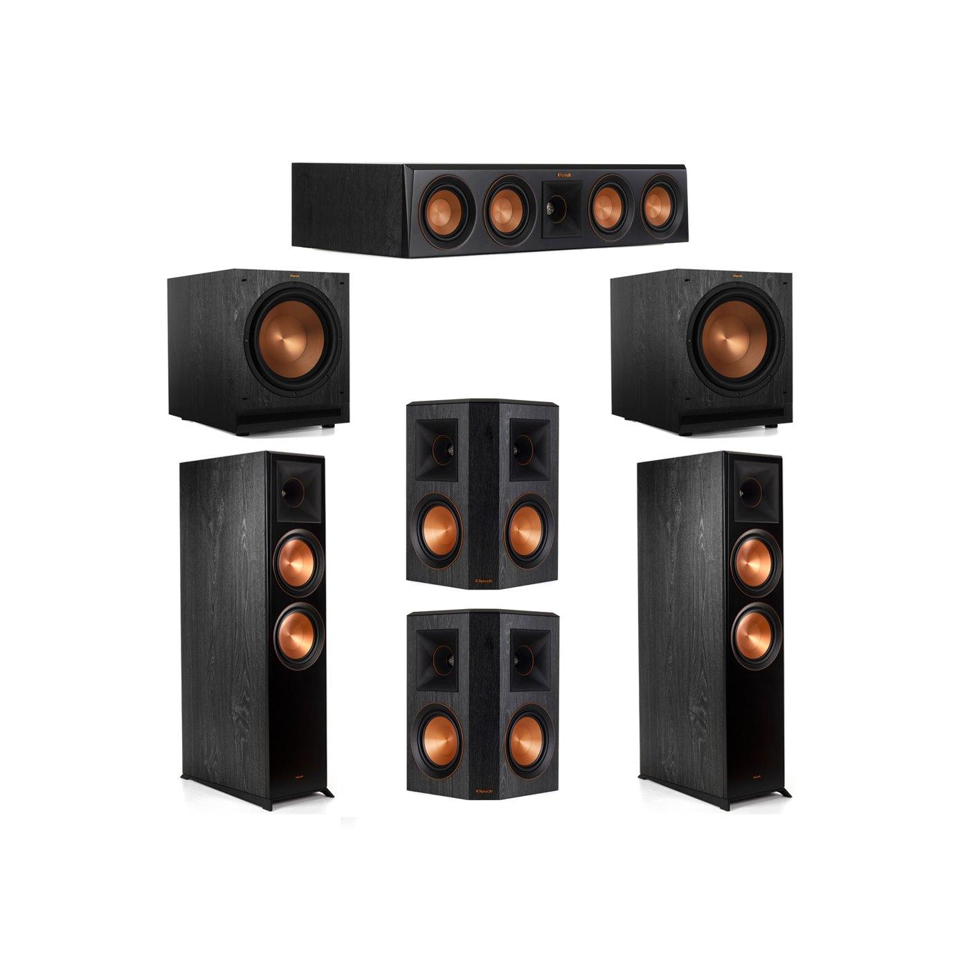 Klipsch 5.2 System with 2 RP-8000F Floorstanding Speakers, 1 Klipsch RP-404C Center Speaker, 2 Klipsch RP-502S Surround Speakers, 2 Klipsch SPL-120 Subwoofers