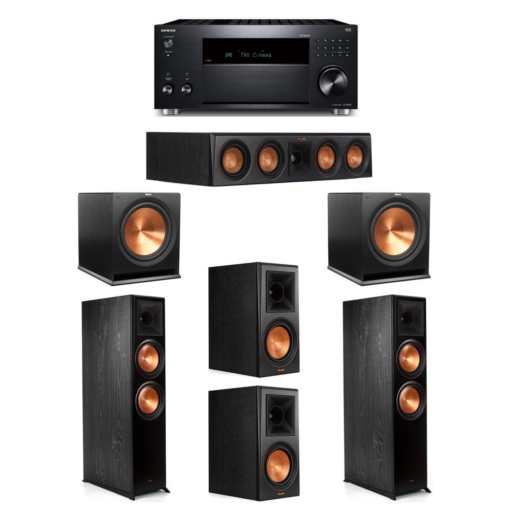 Klipsch 5.2 System with 2 RP-8000F, 1 RP-404C, 2 RP-600M, 2 R-115SW, 1 Onkyo TX-RZ830 Receiver