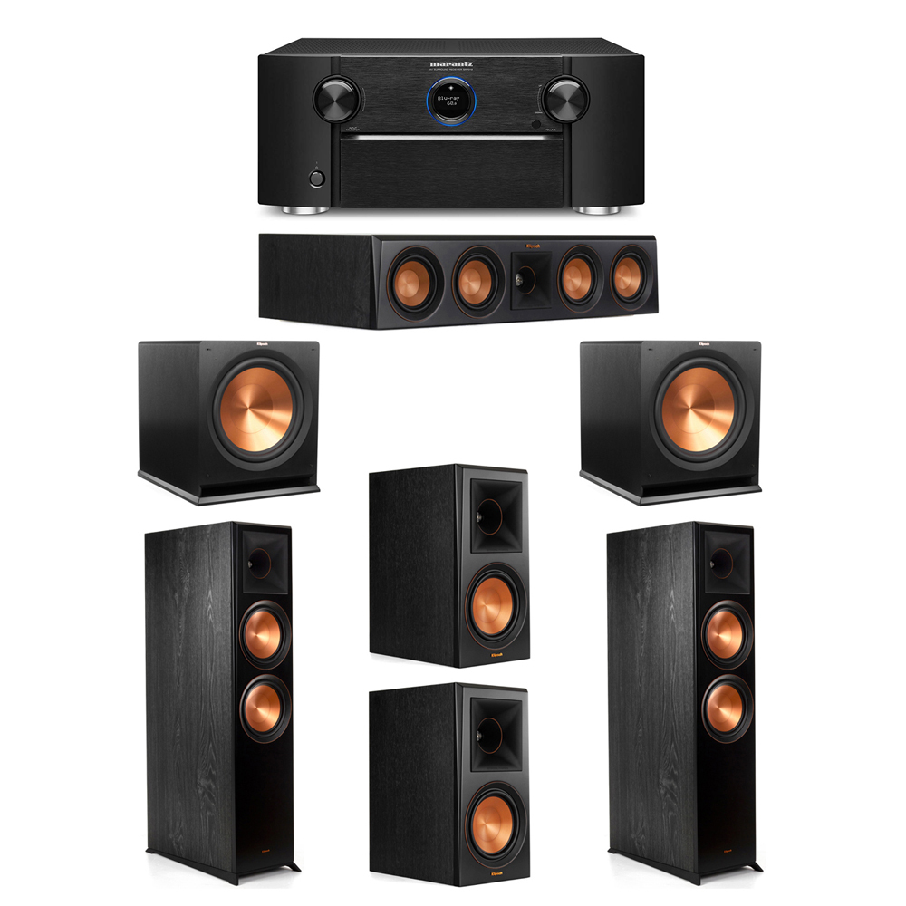 Klipsch 5.2 System with 2 RP-8000F Floorstanding Speakers, 1 Klipsch RP-404C Center Speaker, 2 Klipsch RP-600M Surround Speakers, 2 Klipsch R-115SW Subwoofers, 1 Marantz SR7012 A/V Receiver
