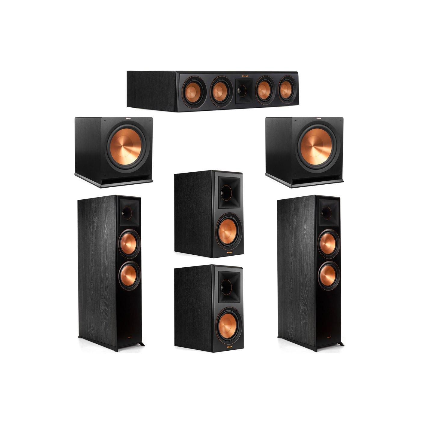 Klipsch 5.2 System with 2 RP-8000F Floorstanding Speakers, 1 Klipsch RP-404C Center Speaker, 2 Klipsch RP-600M Surround Speakers, 2 Klipsch R-115SW Subwoofers