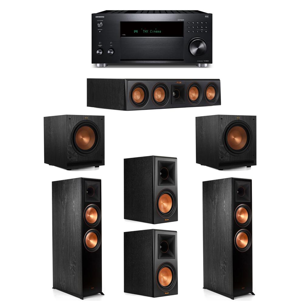 Klipsch 5.2 System with 2 RP-8000F, 1 RP-404C, 2 RP-600M, 2 SPL-100, 1 Onkyo TX-RZ830 Receiver