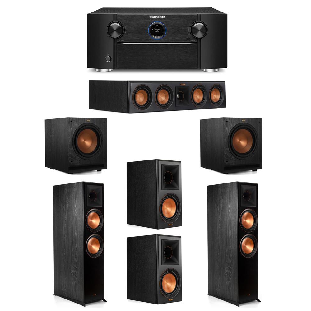 Klipsch 5.2 System with 2 RP-8000F Floorstanding Speakers, 1 Klipsch RP-404C Center Speaker, 2 Klipsch RP-600M Surround Speakers, 2 Klipsch SPL-100 Subwoofers, 1 Marantz SR7012 A/V Receiver