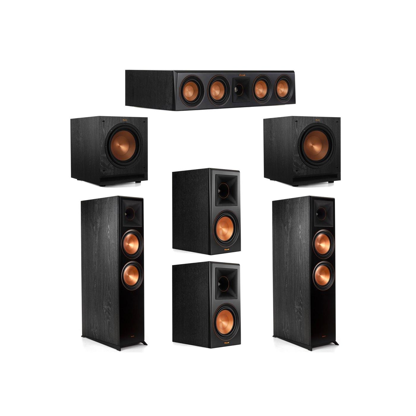 Klipsch 5.2 System with 2 RP-8000F Floorstanding Speakers, 1 Klipsch RP-404C Center Speaker, 2 Klipsch RP-600M Surround Speakers, 2 Klipsch SPL-100 Subwoofers
