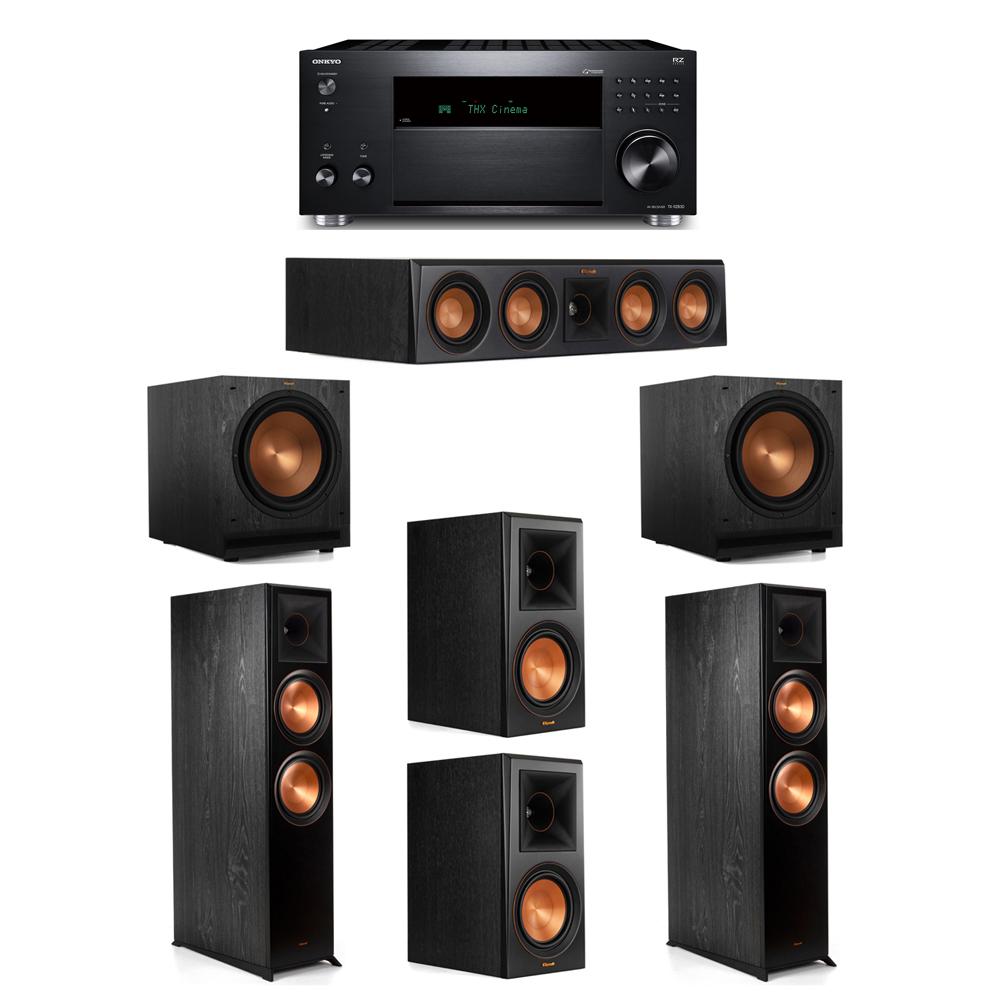 Klipsch 5.2 System with 2 RP-8000F, 1 RP-404C, 2 RP-600M, 2 SPL-120, 1 Onkyo TX-RZ830 Receiver