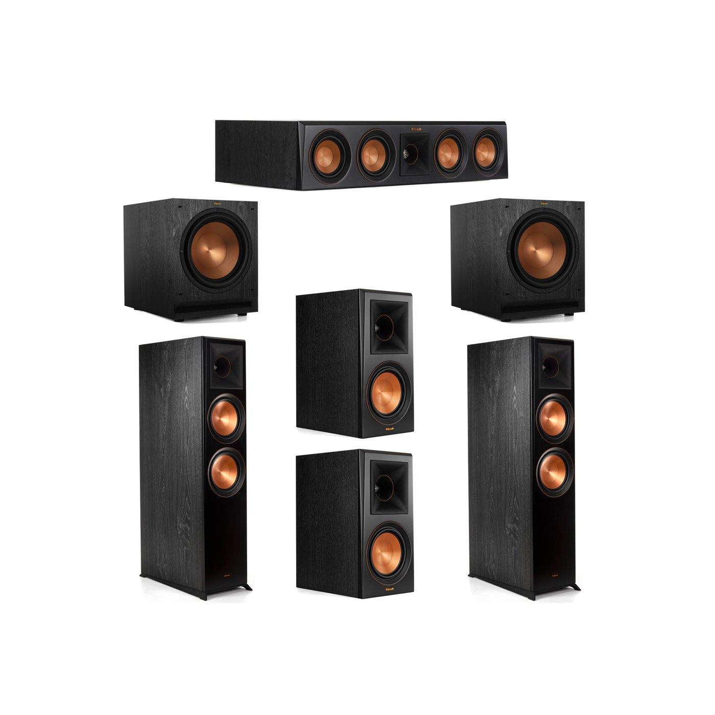 Klipsch 5.2 System with 2 RP-8000F Floorstanding Speakers, 1 Klipsch RP-404C Center Speaker, 2 Klipsch RP-600M Surround Speakers, 2 Klipsch SPL-120 Subwoofers