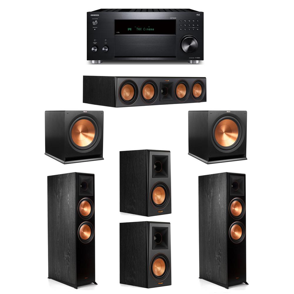 Klipsch 5.2 System with 2 RP-8000F,  1 RP-504C, 2 RP-500M, 2 R-115SW, 1 Onkyo TX-RZ830 Receiver