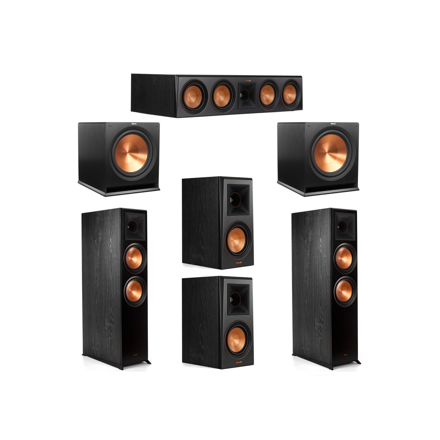 Klipsch 5.2 System with 2 RP-8000F Floorstanding Speakers, 1 Klipsch RP-504C Center Speaker, 2 Klipsch RP-500M Surround Speakers, 2 Klipsch R-115SW Subwoofers