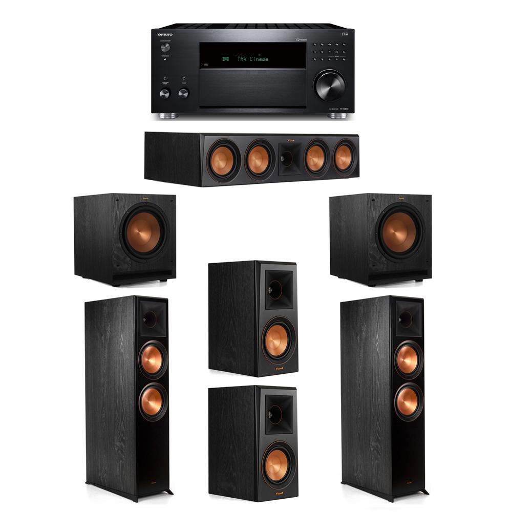 Klipsch 5.2 System with 2 RP-8000F,  1 RP-504C, 2 RP-500M, 2 SPL-100, 1 Onkyo TX-RZ830 Receiver