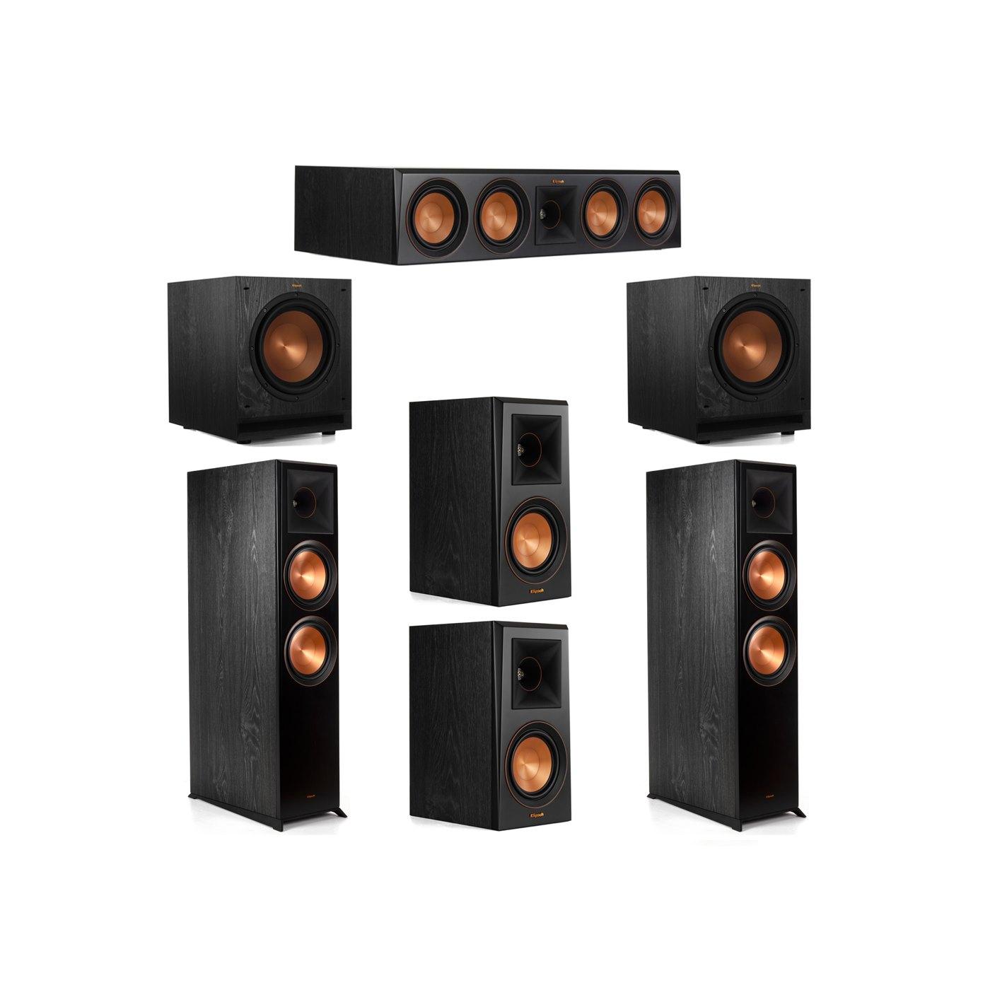 Klipsch 5.2 System with 2 RP-8000F Floorstanding Speakers, 1 Klipsch RP-504C Center Speaker, 2 Klipsch RP-500M Surround Speakers, 2 Klipsch SPL-100 Subwoofers