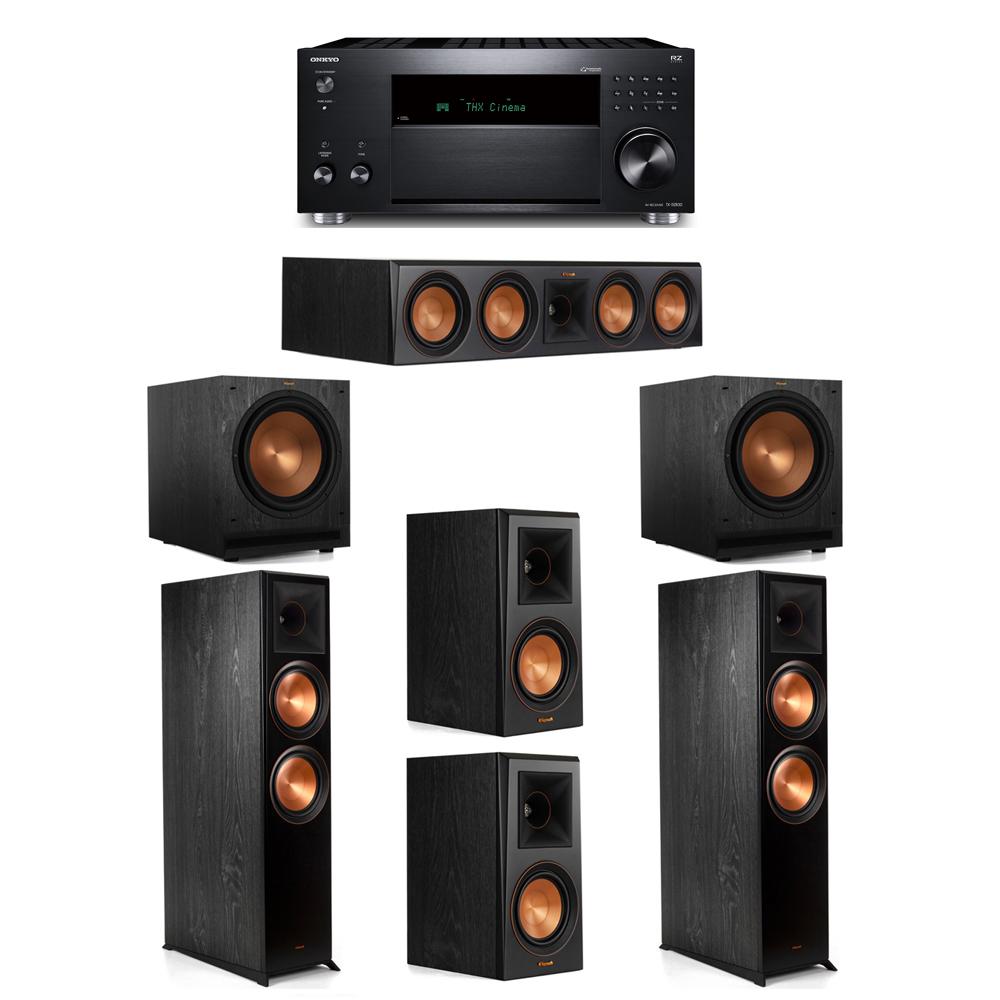 Klipsch 5.2 System with 2 RP-8000F,  1 RP-504C, 2 RP-500M, 2 SPL-120, 1 Onkyo TX-RZ830 Receiver