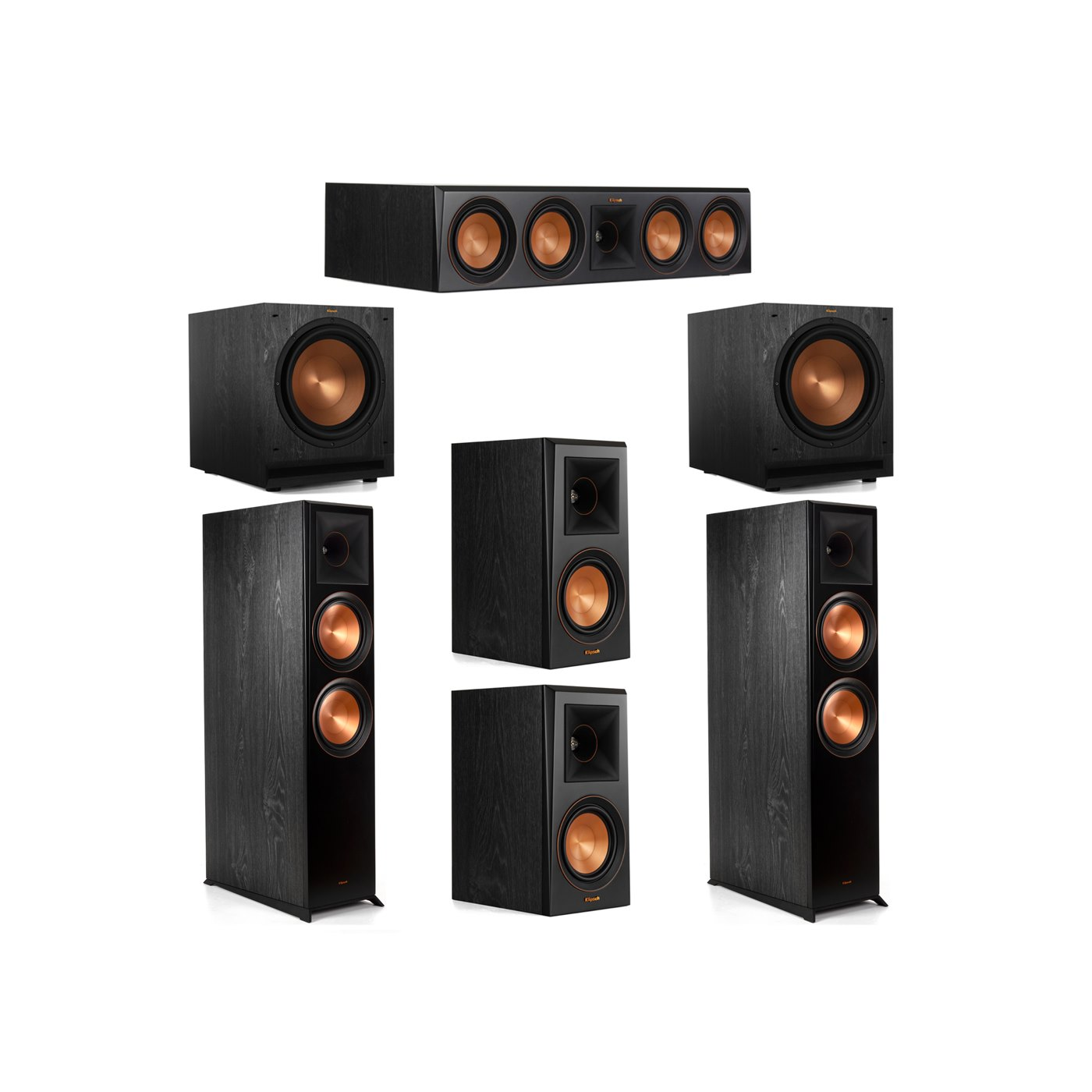 Klipsch 5.2 System with 2 RP-8000F Floorstanding Speakers, 1 Klipsch RP-504C Center Speaker, 2 Klipsch RP-500M Surround Speakers, 2 Klipsch SPL-120 Subwoofers