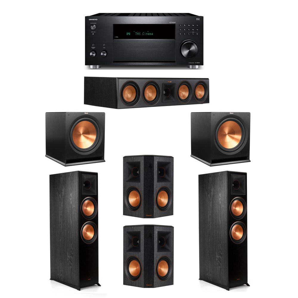 Klipsch 5.2 System with 2 RP-8000F,  1 RP-504C, 2 RP-502S, 2 R-115SW, 1 Onkyo TX-RZ830 Receiver