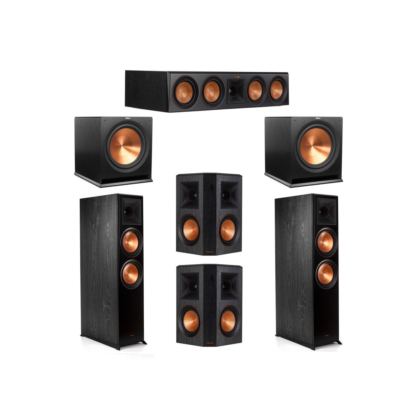 Klipsch 5.2 System with 2 RP-8000F Floorstanding Speakers, 1 Klipsch RP-504C Center Speaker, 2 Klipsch RP-502S Surround Speakers, 2 Klipsch R-115SW Subwoofers