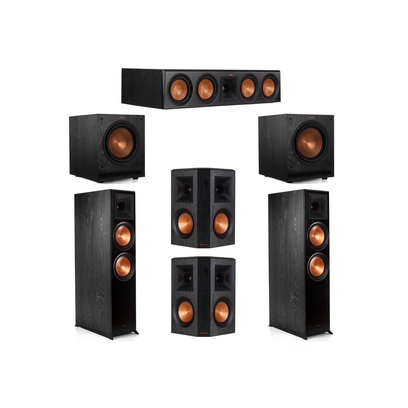 Klipsch 5.2 System with 2 RP-8000F Floorstanding Speakers, 1 Klipsch RP-504C Center Speaker, 2 Klipsch RP-502S Surround Speakers, 2 Klipsch SPL-100 Subwoofers