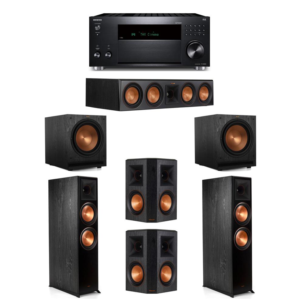 Klipsch 5.2 System with 2 RP-8000F,  1 RP-504C, 2 RP-502S, 2 SPL-120, 1 Onkyo TX-RZ830 Receiver