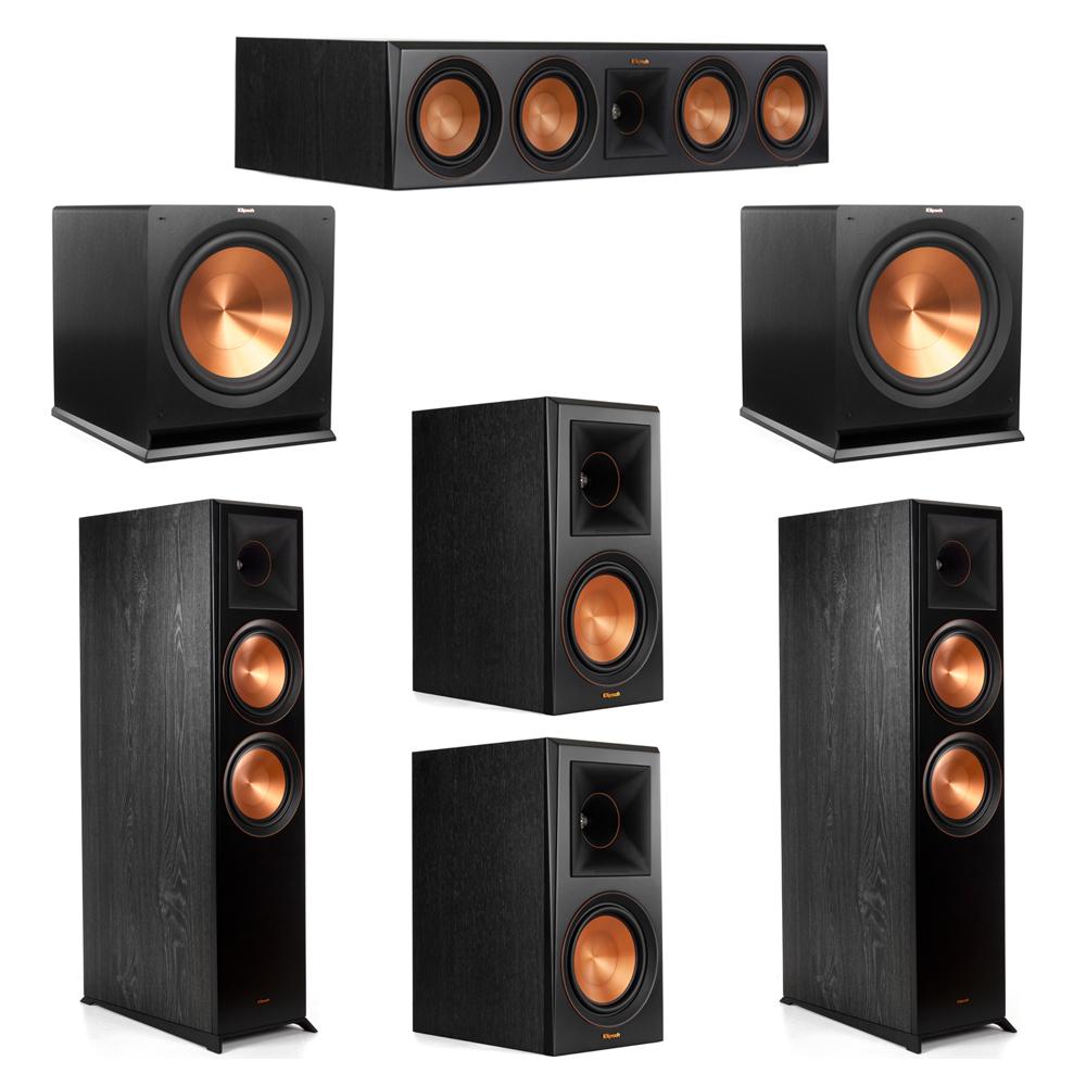Klipsch 5.2 System with 2 RP-8000F Floorstanding Speakers, 1 Klipsch RP-504C Center Speaker, 2 Klipsch RP-600M Surround Speakers, 2 Klipsch R-115SW Subwoofers