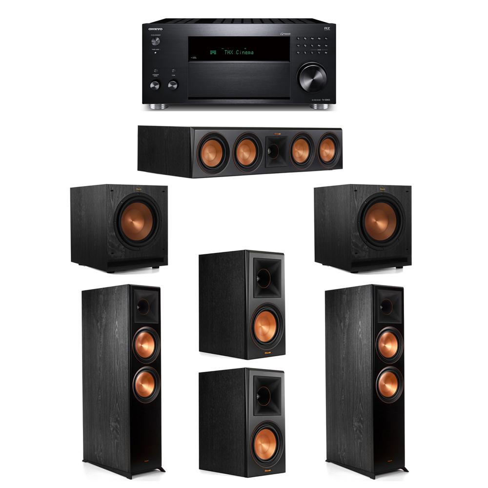 Klipsch 5.2 System with 2 RP-8000F,  1 RP-504C, 2 RP-600M, 2 SPL-100, 1 Onkyo TX-RZ830 Receiver