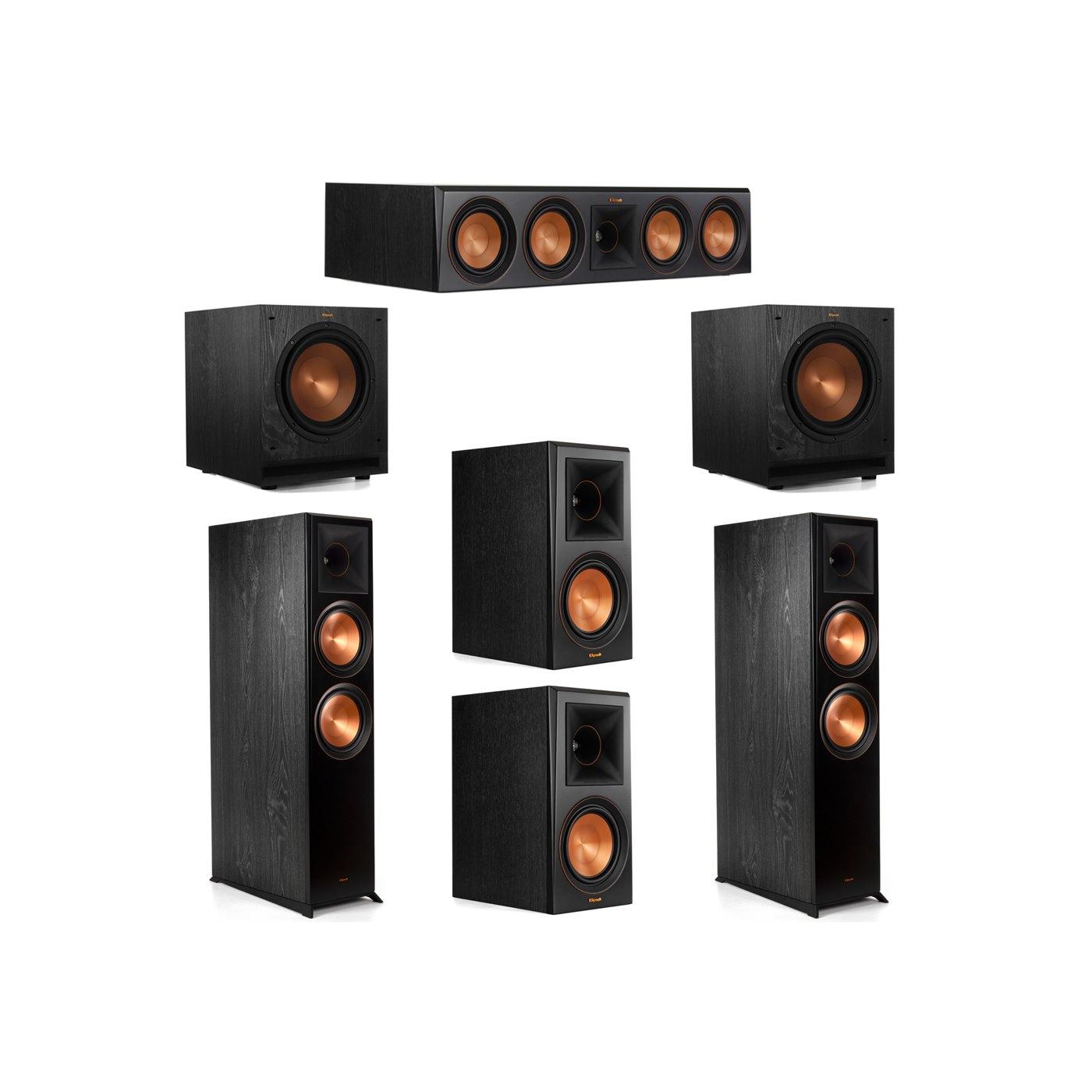 Klipsch 5.2 System with 2 RP-8000F Floorstanding Speakers, 1 Klipsch RP-504C Center Speaker, 2 Klipsch RP-600M Surround Speakers, 2 Klipsch SPL-100 Subwoofers