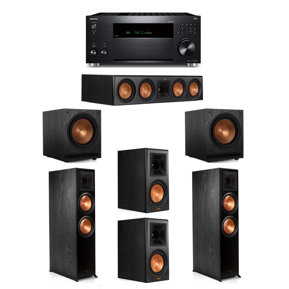 Klipsch 5.2 System with 2 RP-8000F,  1 RP-504C, 2 RP-600M, 2 SPL-120, 1 Onkyo TX-RZ830 Receiver